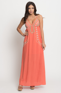 Buy online floral embroidered maxi dress for women on sale at caralase.com