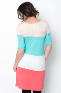 mint color block tunic dresses