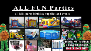 BOUNCING CASTLES FOR HIRE AND KIDS RENTAL BIRTHDAY PARTY SUPPLIES IN UGANDA