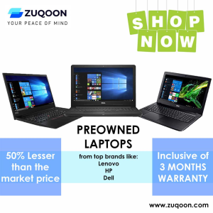Pre-owned Laptops - 50% lesser than the market price at Zuqoon