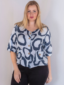 Wholesale Abstract Print Button Detail Shirt