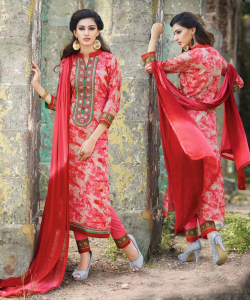 Pink Printed Salwar Kameez With Dupatta - online shopping india