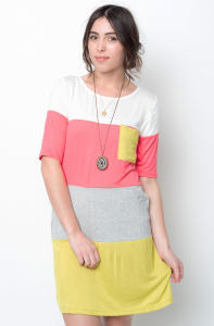 Buy online color block tunic dress for women on sale at caralase.com