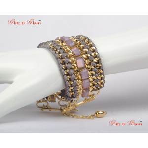 Fashion Bracelets - Rose quartz studded and attached with brass chain