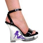 Five Inches Heel Shoe With Purple Lady