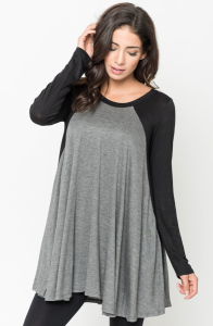 Buy Two Tone Baseball Draped Tunic Online $20