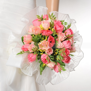 Red and Pink Rose Wedding Bouquet with Trimmed Organza Wrap