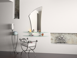 CAMILLE WALL MIRROR WITH SHELVES