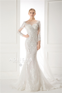 Long Sleeves V-Neckline Lace Applique with Beads Sheath A-Line  Lace