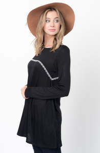 Buy Now Lace Trim Long Sleeve Jersey Top Tunic Online - $32 -@caralase.com