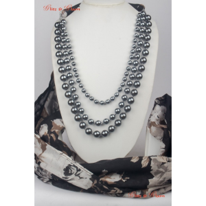 Fashion Jewelled Scarf - Pearls woven with a thin cord