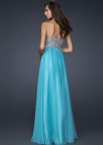 Cheap Strapless Chiffon Long Prom Dress
