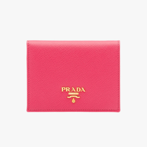 Prada 1MV204 Leather Flap Wallet In Rose