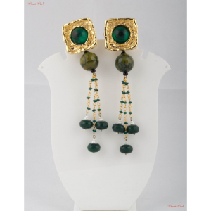 Fashion Jewellery Earrings - The apple green Garnets studded in gold polished square brass casing