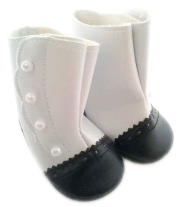 "American Girl Doll Shoes -""Black And White Victorian Boots"""