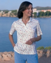Silky Cotton Printed Ladies Polo Tracey Shirt 285 WT
