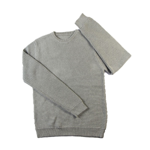 2016 Spring classic crewneck horizontal rib pullover grey heather everyday sweater