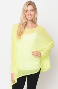 asymmetrical tunic tops lime