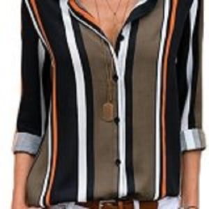 Dearlovers Womens Color Block Striped Shirts