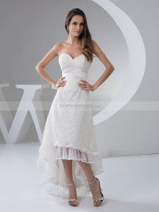 Strapless Hi Lo Lace Bridal Dress with Ruffled Hemline