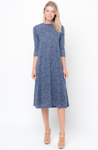Shop for Swing Midi Dress 3/4 Sleeves Crew Neck Online on Caralase.com