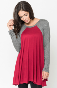Buy Now Two Tone Baseball Draped Tunic Online $28 -@caralase.com