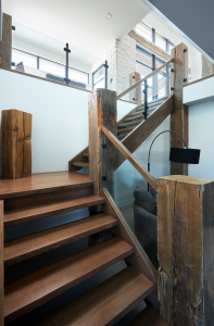 modern rustic staircase with reclaimed timbers