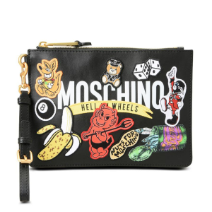 Moschino Badges Patch Women Leather Clutch Black