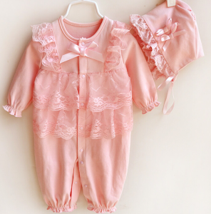 Baby Girls One Piece Romper Set in Peach Color