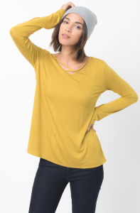 Shop for Long Sleeves Cross Front Neckline Tee Jersey Tunic Online - $30 - on caralase.com