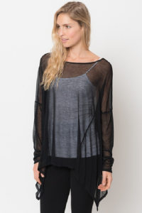 asymmetrical tunic tops black