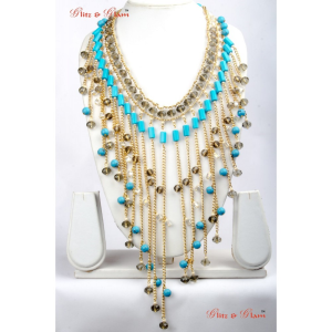 Necklaces - Cleopatra style brass and turquoise blue hanging strings