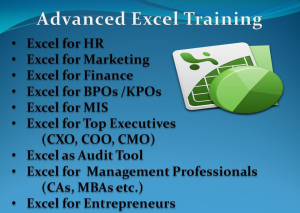 Advanced Microsoft Excel Training in Chennai