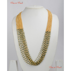 Necklaces with many layered brass and yellow beads neckpiece