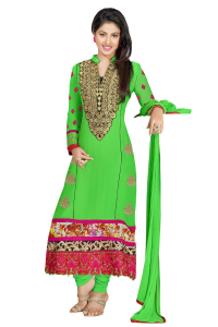 Sea Green Embroidered Straight Suit at online shopping india