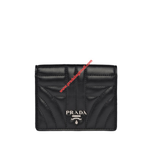 Prada 1MV204 Quilted Leather Wallet In Black