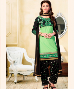 online shopping india - Green Black Semi Stitched Salwar Kameez With Dupatta