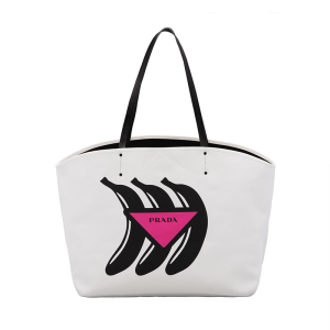 Prada 1BG128 Banana Printed Canvas Tote In White