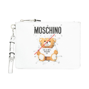 Moschino Safety Pin Teddy Women Leather Clutch White