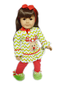 Reindeer Pjs for American Girl Dolls With Slippers
