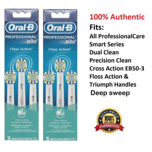 6 Oral B Floss Action Brush Heads Braun Replacement Electric