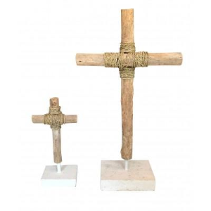 DRIFTWOOD CROSS ON STAND- PAIR