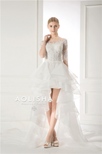 Short Sleeves Off-Shoulder Sweetheart Lace Applique Ball Wedding