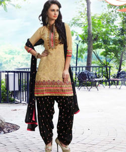 Yellow BlackPatiala Semi Stitched Salwar Kameez - online shopping india
