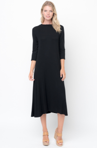 Buy Now 3/4 Sleeves Ribbed Crew Neck Midi Online $20 -@caralase.com