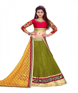 online shopping india -Ambaji Designer Olive colored Lehenga Choli