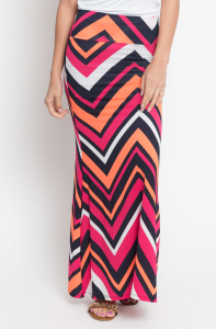 long chevron maxi skirt