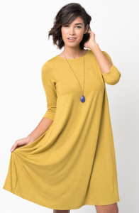 Shop for Shirred Back Midi 3/4 sleeve jersey dress crew neck online on caralase.com