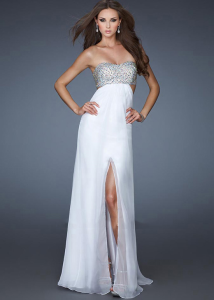Cheap White Strapless Prom Dress