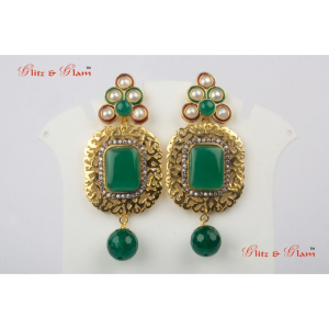 Earrings - combination of emerald and pearl
